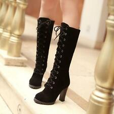 Womens Trendy Mid Calf Lace Up Boots High Kitten Heel Military Combat faux suede