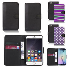 black pu leather wallet case cover for apple iphone models design ref q407