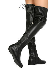 Nature Breeze Vickie-42 Women Leatherette Thigh High Drawstring Flat Boot