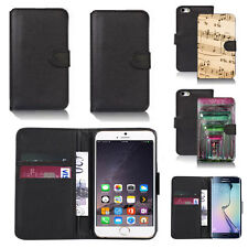 black pu leather wallet case cover for many mobiles design ref q596