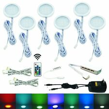 6 RGB LED Under Cabinet Lighting Aluminum Puck Lights with Wireless RF Remote