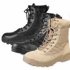 Men Military Army Tactical Combat Boots Sports Hiking Hunting Leather Shoes New