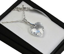 925 Silver Necklace made with Swarovski Crystals * Crystal Clear * Heart