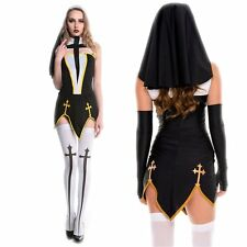 Sexy Women Nun Habit Outfit Halloween Hen Party Fancy Dress Holy Sister Costume