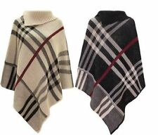 WOMENS LADIES PONCHO 3 BUTTONS PLAIN TARTAN CHECKED KNITTED CARDIGAN TOP SCHWAL