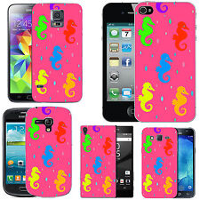 hard case cover for many mobiles -  blush colourful seahorse droplet