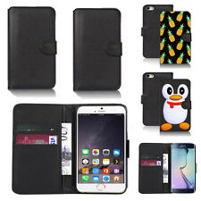black pu leather wallet case cover for many mobiles design ref q668