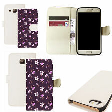 pu leather wallet case for majority Mobile phones - decorative floral white
