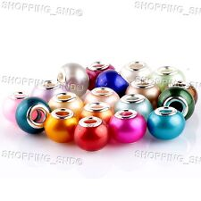 Mix Pearl Murano Glass Beads fit European Charm Bracelet Jewelry Making Spacers