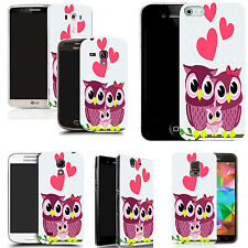 gel case cover for many mobiles - pink love owls  silicone