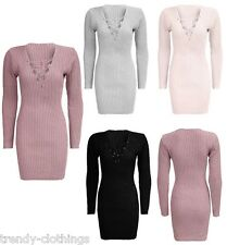 Womens Ladies Lace Up Plunge V Neck Long Sleeve Knitted Bodycon Mini Dress