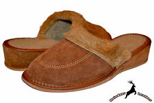 Ladies Women's Suede Leather Wool Winter Brown High Heel Slippers Shoes Sandal
