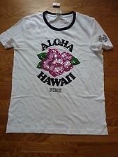 "VICTORIAS SECRET PINK BLING CAMPUS HIBISCUS""ALOHA"" ""HAWAII"" SCOOPNECK TSHIRT NWT"