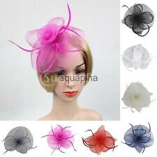 Flower Mesh Feather Fascinator Hat Hairpin Wedding Race Church Ladies Fascinator
