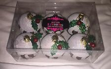 Brand New X6 Glitter Christmas Pudding Baubles Decorations Festive Christmas