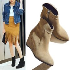 New Womens Suede Leather Wedge Ankle Boots Point Toe Cowboy Western Boots Oxford