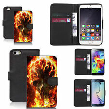 pu leather wallet case for many Mobile phones - fireblaze skull