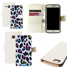 pu leather wallet case for majority Mobile phones - animal wild print white