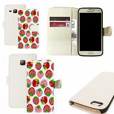 pu leather wallet case for majority Mobile phones - strawberry white