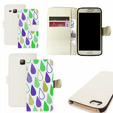 pu leather wallet case for majority Mobile phones - coloured rain white