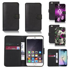 black pu leather wallet case cover for many mobiles design ref q436