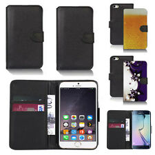 black pu leather wallet case cover for many mobiles design ref q353