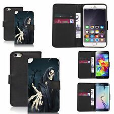 pu leather wallet case for many Mobile phones - skull reeper