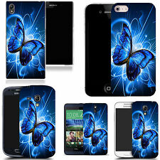 gel case cover for many mobiles - blue twirl butterfly silicone
