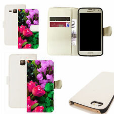 pu leather wallet case for majority Mobile phones - colourful tulip white