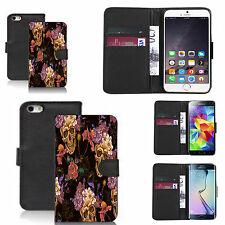 pu leather wallet case for many Mobile phones - skull flower