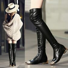 New Womens Metal Decor Leather Point Toe Over Knee Thigh High Boot Flats Oxfords