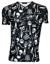 Men's Gothic Skeletons Skulls Bones Ribcage Heart Print V Neck T-Shirt Top Goth