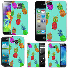 gel case cover for many mobiles - azure multi coloured pineapples silicone