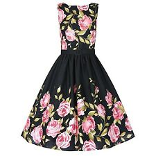 Women Floral Spring Garden Vintage Inspired 1950's Pin-Up Party Cocktail Dress