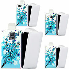 pu leather flip case cover for majority Mobile phones - blue floral bee flip