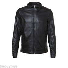 Fashion Cool Mens PU Leather Jackets Slim Fit Short Biker Motorcycle Jacket Coat