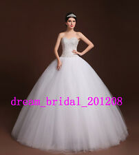 Stock White/Ivory Ball Gown Wedding Dress Beading Crystal Bridal Gown Size 4-22
