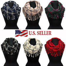 Woven Plaid Check Infinity Loop Scarf Long Fringe Cowl Scarves Circle Wrap Shawl