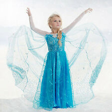 Girls Disney Frozen dress costume Princess Anna party dresses cosplay