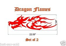 """Two Large Dragon Tribal Flame Vinyl Decals 22"""" x 7"""" ea - Select Color"""