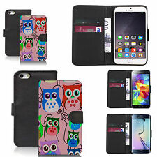 pu leather wallet case for many Mobile phones - multi owl pink