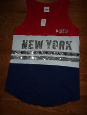 "VICTORIAS SECRET PINK BLING SEQUIN PATRIOTIC RED/WHITE/B NEW YORK ""PINK"" TEE NWT"