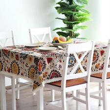 Ethnic Lace Trim Tablecloth Party Kitchen Banquet Dining Table Cover Protection