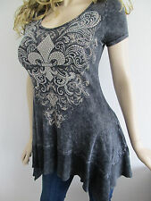 Vocal Ribbed Black Mineral Wash Crystals Stones Tunic A Line Shirt Sexy S L
