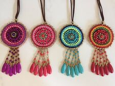 Bead Disc Pendant Long Suede Leather Necklace Tassels Bright Colour Boho Ethnic