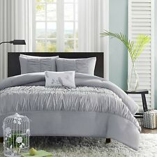 New Luxury 4 Piece Ruched Comforter Bedding Set Available In Gray & White Color.