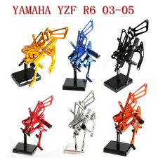 CNC  adjusty Rearsets Foot pegs For YAMAHA YZF R6 03-05 6 Colors Racing New