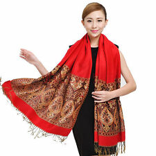 Vintage Lagre Long Pashmina Womens Scarves Stole Shawl Wrap Scarf with Tassels