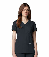Greys Anatomy 4153 Steel Grey Junior Fit  3 Pocket Mock Wrap Scrub Top