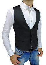 VEST WAISTCOAT MAN CASUAL BLACK ELEGANTE SLIM FIT SUPER TIGHT size XS S M L XL